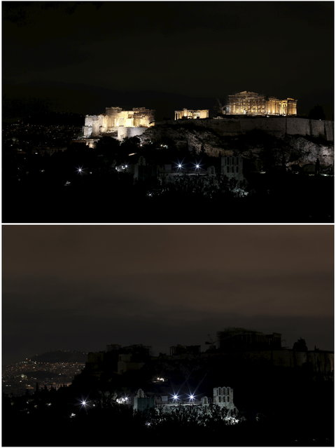 A combination picture shows the Acropolis hill before and during Earth Hour in Athens March 28, 2015. (Photo by Kostas Tsironis/Reuters)