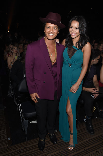 Singer Bruno Mars (L) and Jessica Caban attend The 58th GRAMMY Awards at Staples Center on February 15, 2016 in Los Angeles, California. (Photo by Larry Busacca/Getty Images for NARAS)