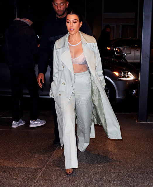 Kourtney Kardashian wears only a sheer bra showing her nipple when out for dinner on February 7, 2019 in New York City. (Photo by Gotham/GC Images)