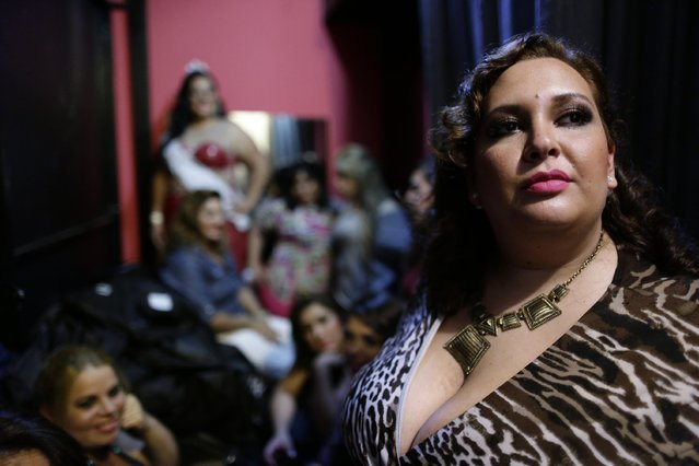 "Contestant Isabel Sosa waits for the start of the fourth annual ""Miss Gordita"" beauty contest in Asuncion, Paraguay, Saturday, April 25, 2015. (Photo by Jorge Saenz/AP Photo)"