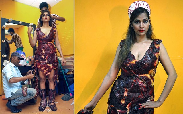 Indian Bollywood film actress Tanisha Singh is assisted as she prepares to pose in a real goat meat dress, similiar to one worn by Lady Gaga, during a photoshoot for the Save Animals campaign in Mumbai on February 5, 2014. (Photo by AFP Photo)