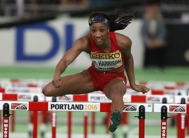 Kendra Harrison of the U.S. competes in a women's 60 meter hurdles heat during the IAAF World Indoor Athletics Championships in Portland, Oregon March 18, 2016. (Photo by Lucy Nicholson/Reuters)