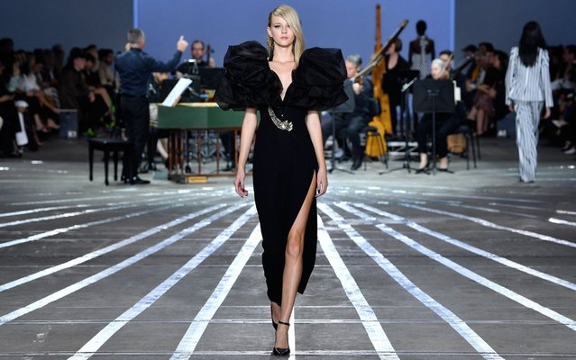 A model walks the runway during the Carla Zampatti show at Mercedes-Benz Fashion Week Resort 20 Collections at Carriageworks on May 16, 2019 in Sydney, Australia. (Photo by Stefan Gosatti/Getty Images)