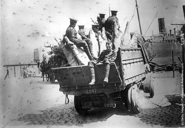 1915:  A truckload of troops being transported from the port at Salonika in Greece during World War I