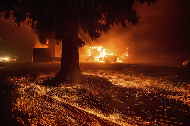 Flames consume a Kentucky Fried Chicken as the Camp Fire tears through Paradise, Calif., on Thursday, November 8, 2018. Tens of thousands of people fled a fast-moving wildfire Thursday in Northern California, some clutching babies and pets as they abandoned vehicles and struck out on foot ahead of the flames that forced the evacuation of an entire town and destroyed hundreds of structures. (Photo by Noah Berger/AP Photo)