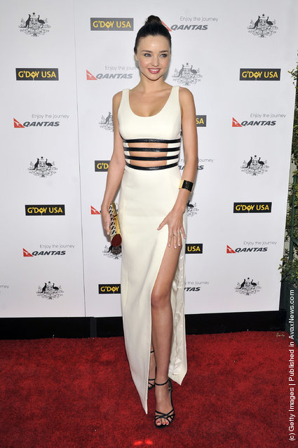 Miranda Kerr arrives for the 9th Annual G'Day USA Los Angeles Black Tie gala