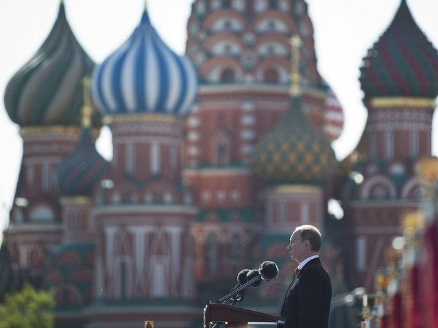 Russian President Vladimir Putin speaks during a Victory Day Parade in Moscow. (Photo by Pavel Golovkin/AP Photo)