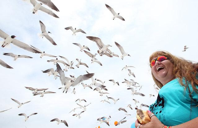 Donna Cannon laughs as she feeds birds in Panama City Beach, Fla., Monday, May 2, 2016. (Photo by Andrew Wardlow/The News Herald/Panama City, Fla. via AP Photo)