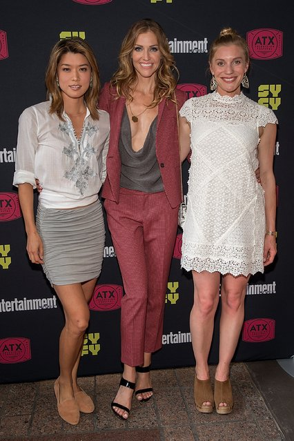 (L-R) Grace Park, Tricia Helfer, and Katee Sackhoff attend the closing night reunion panel of Battlestar Galactica and after-party presented by Entertainment Weekly and SYFY during the ATX Television Festival on June 10, 2017 in Austin, Texas. (Photo by Rick Kern/Getty Images for Entertainment Weekly)