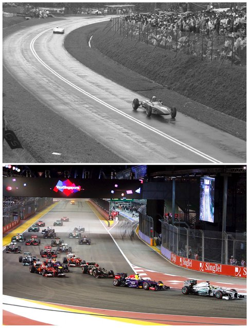 Spectators watch from behind the fence as cars race during the Malaysian Grand Prix at Thomson Road circuit in Singapore in this photo dated March 29, 1964 (top) and the Singapore F1 Grand Prix Night Race at the Marina Bay street circuit in Singapore September 22, 2013. (Photo by Edgar Su/Reuters/National Archives of Singapore/Ministry of Information and the Arts)