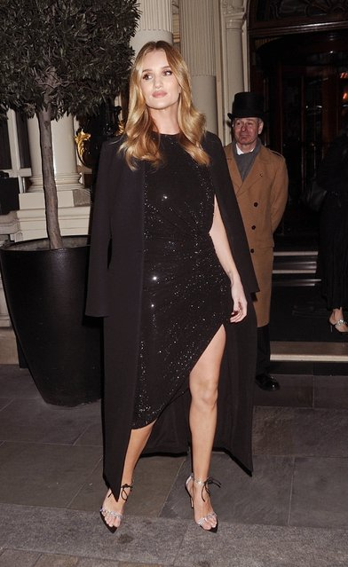 New Hourglass brand ambassador Rosie Huntington-Whiteley attends Whiteley Launch Party at Connaught Hotel for the beauty company in London, England on January 22, 2020. (Photo by Backgrid UK)