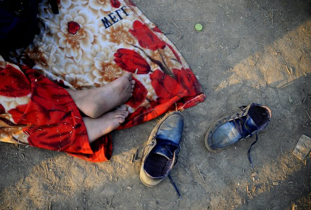 An immigrant, part of a new group of more than a thousand immigrants, sleeps as they wait at the border line of Macedonia and Greece to enter into Macedonia near Gevgelija railway station August 20, 2015. (Photo by Ognen Teofilovski/Reuters)