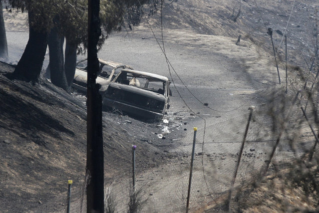 Vehicles destroyed due to a wildfire are seen in Santa Clarita, Calif., Sunday, July 24, 2016. The body of a man was discovered Saturday in one of the vehicles outside a home in the fire zone. Los Angeles County sheriff's officials are investigating the death but said there was no evidence it was a crime. Which vehicle the body was found was not unclear at the time the photo was taken. (Photo by Katharine Lotze/The Santa Clarita Valley Signal via AP Photo)