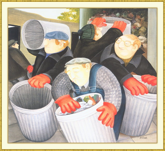 Dustbin Men. Artwork by Beryl Cook