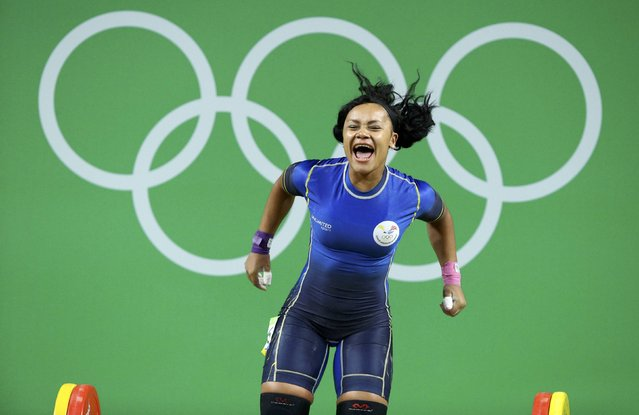 2016 Rio Olympics, Weightlifting, Final, Women's 69kg, Riocentro, Pavilion 2, Rio de Janeiro, Brazil on August 10, 2016.  Neisi Dajomes (ECU) of Ecuador celebrates. (Photo by Athit Perawongmetha/Reuters)