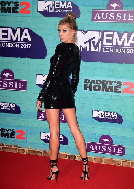 Model Hailey Baldwin arrives at the 2017 MTV Europe Music Awards at Wembley Arena in London, Britain, November 12, 2017. (Photo by PA Wire)