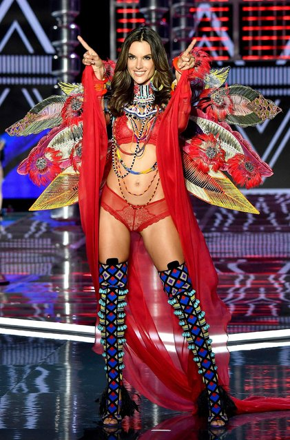 Alessandra Ambrosio walks the runway during the 2017 Victoria's Secret Fashion Show In Shanghai at Mercedes-Benz Arena on November 20, 2017 in Shanghai, China. (Photo by Frazer Harrison/Getty Images for Victoria's Secret)