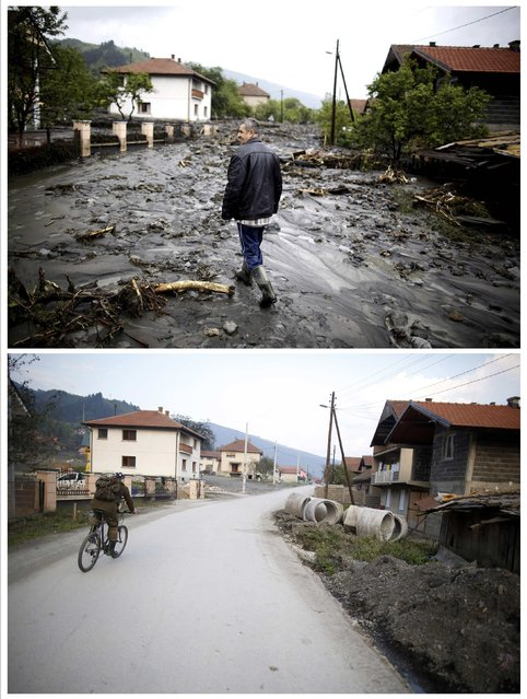 A combination photo shows Asim Skopljak walking on a street during floods May 16, 2014 (top) and the same place after floods October 8, 2014 in Topcic Polje. (Photo by Dado Ruvic/Reuters)