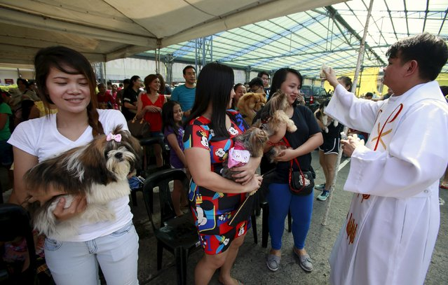 Xander Carandang, a Catholic priest, sprinkles holy water on people and their pets during a pet blessing at the Greenhills shopping mall in Manila October 3, 2015. (Photo by Romeo Ranoco/Reuters)
