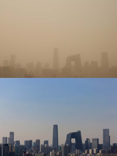 This composite photograph shows the skyscrapers during the sandstorm on February 28 and the blue sky on February 19, 2013 in Beijing, China. Beijing was hit by its first sandstorm of the year while its air quality reached dangerous level on Thursday.  (Photo by Feng Li)