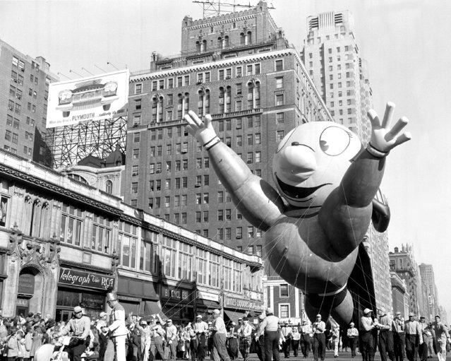 Might Mouse makes a spectacle of himself at Macy's Thanksgiving Day parade, 1956. (Photo by Hal Mathewson/NY Daily News Archive via Getty Images)