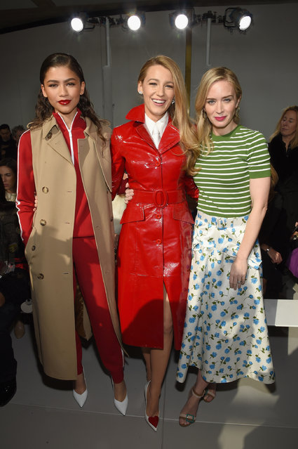 (L-R) Zendaya, Blake Lively, and Emily Blunt attend the Michael Kors Collection Fall 2018 Runway Show at Vivian Beaumont Theatre at Lincoln Center on February 14, 2018 in New York City. (Photo by Dimitrios Kambouris/Getty Images for Michael Kors)