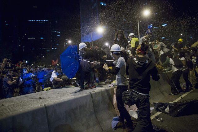 Riot police use pepper spray as they attempt to clear a demonstration site close to the chief executive office in Hong Kong December 1, 2014. (Photo by Tyrone Siu/Reuters)