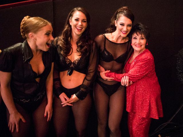 "Chita Rivera (R) backstage with performers from ""Chicago"" during The Olivier Awards with Mastercard at Royal Albert Hall on April 8, 2018 in London, England. (Photo by David Levene/The Guardian)"