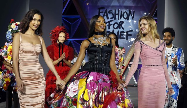 Naomi Campbell, Bella Hadid and Natalia Vodianova walk the runway at the Fashion For Relief 2018 event during the 71st international film festival, Cannes, southern France, Sunday, May 13, 2018. (Photo by Eric Gaillard/Reuters)