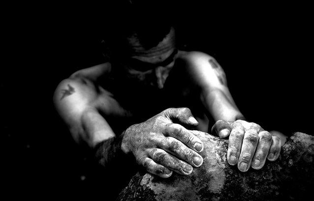 """Reach out and touch faith..."" I took this picture after reached the top of a rock in Macomer (Sardinia), my friend was climbing almost got the top and I shoot! This picture wants emphasize the hands as strength used for practicing free climbing. Location: Macomer, Sardinia, Italy. (Photo and caption by Marcello Perino/National Geographic Traveler Photo Contest)"