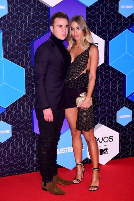 Mario Gotze and Ann-Kathrin Brommel pose for photographers upon arrival at the MTV European Music Awards 2016 in Rotterdam, Netherlands, Sunday, November 6, 2016. (Photo by PA Wire)