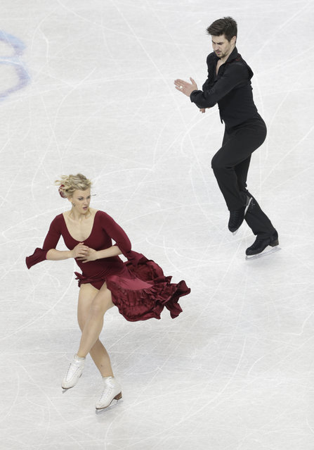 Madison Hubbell, left, and Zachary Donohue perform during the short dance program at the U.S. Figure Skating Championships in Greensboro, N.C., Friday, January 23, 2015. (Photo by Chuck Burton/AP Photo)
