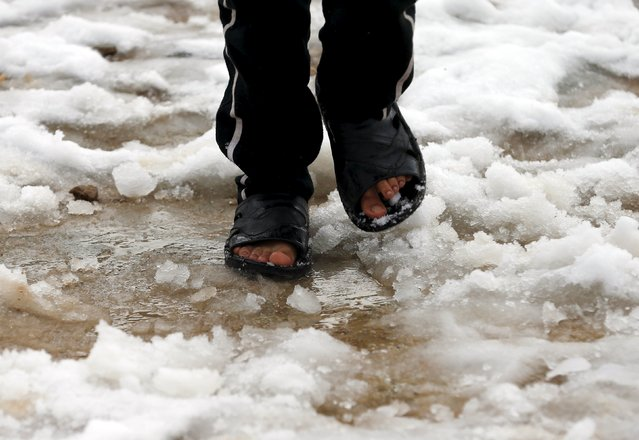 A Syrian youth Khaled from Raqqa walks on snow wearing slippers in the Bekaa Valley refugee camp in Lebanon after the first heavy snow storm hit Lebanon, January 3, 2016. (Photo by Jamal Saidi/Reuters)