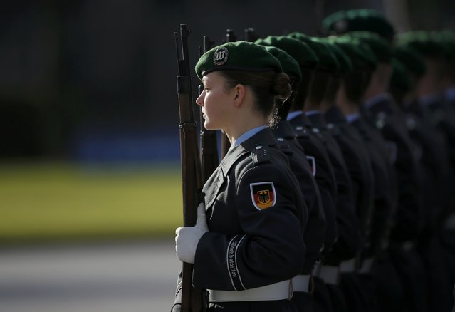 A female soldier of the German armed forces Bundeswehr guard of honour (Wachbatallion) is pictured at the Defence Ministry in Berlin, Germany, January 28, 2016. (Photo by Fabrizio Bensch/Reuters)