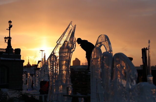 Ice sculptures carved as part of the 2019 Star of Bethlehem ice sculpture festival in Yekaterinburg, Russia on January 6, 2019. (Photo by Donat Sorokin/TASS)