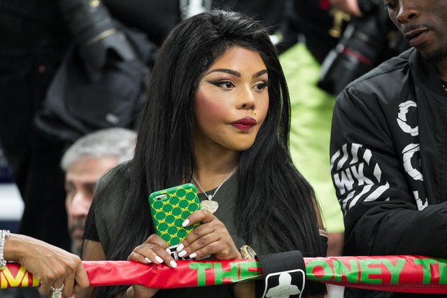 Lil' Kim attends the Floyd Mayweather media workout at Mayweather Boxing Club on Tuesday, April 14, 2015 in Las Vegas. (Photo by John Salangsang/AP Photo)