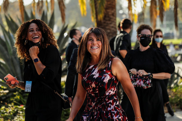 """Producer Monica Lewinsky reacts at a red carpet event for the television show """"Impeachment: American Crime Story"""" at Pacific Design Center in West Hollywood, California, September 1, 2021. (Photo by Mario Anzuoni/Reuters)"""