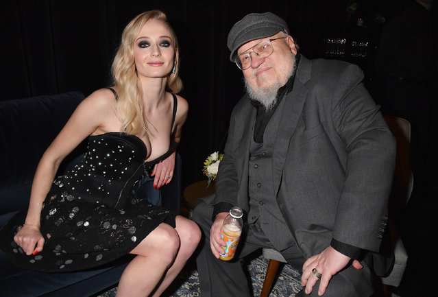 "Sophie Turner (Sansa Stark) and George R. R. Martin attend the ""Game Of Thrones"" Season 8 NY Premiere on April 3, 2019 in New York City. (Photo by Jeff Kravitz/FilmMagic for HBO)"