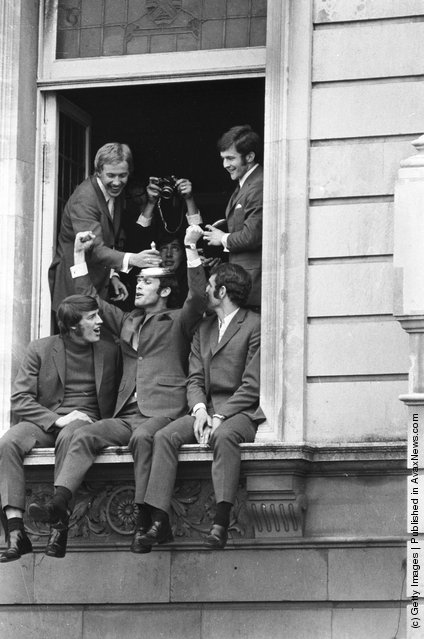 1970: Chelsea FC football players (clockwise from top left), Alan Birchenall, John Hollins, Peter Osgood, John Dempsey and Ian Hutchinson, celebrating their FA Cup victory over Leeds