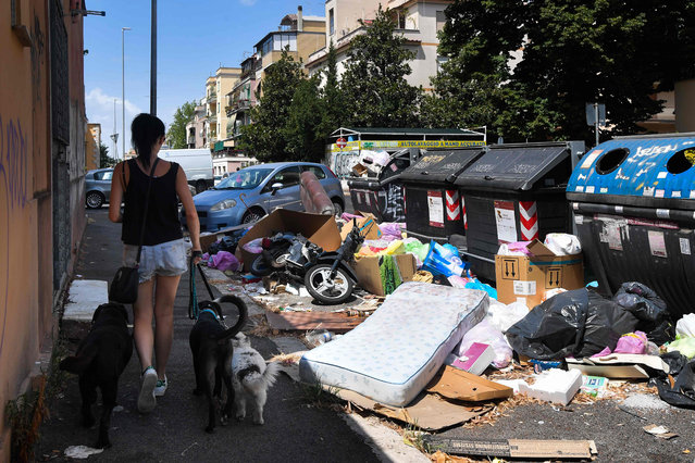 A resident walks her dogs past overflowing trash bins on July 10, 2019 in the Centocelle district of Rome, as the Italian capital struggles with a renewed garbage emergency aggravated by the summer heat. (Photo by Tiziana Fabi/AFP Photo)