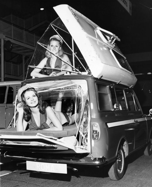 Two models showing how a Dormobile Roma motor caravan can be extended. 11th November 1969. (Photo by George W. Hales/Fox Photos/Getty Images)