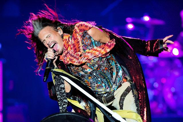 Aerosmith's Steven Tyler performs at the Royal Arena in Copenhagen, Denmark, June 5, 2017. (Photo by Nils Meilvang/Reuters/Scanpix Denmark)