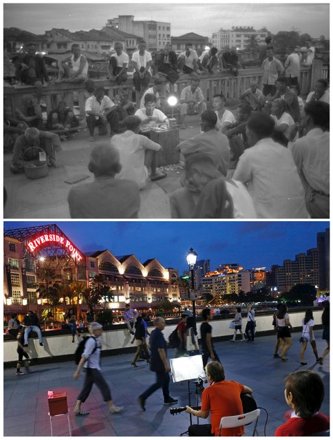 Labourers, mostly Teochew people, gather to listen to a storyteller on Read Bridge along the Singapore River in this photo dated January 2, 1960 (top) and the same location May 8, 2015. The area was popular with labourers who unloaded cargo from boats plying the river. Stories were told for a fee based on the duration of a burning joss stick. (Photo by Edgar Su/Reuters/National Archives of Singapore/Ministry of Information and the Arts)
