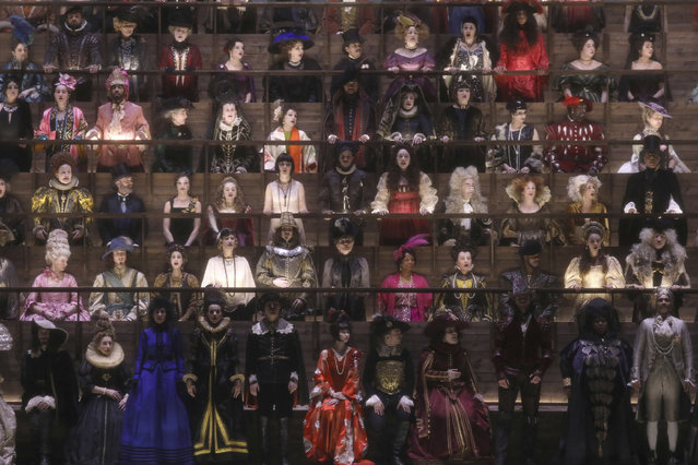 Actors appear in costume at the Louis Vuitton fashion collection during Women's fashion week Fall/Winter 2020/21 presented in Paris, Tuesday, March 3, 2020. (Photo by Vianney Le Caer/Invision/AP Photo)