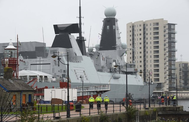 A Royal Navy Type 45 destroyer, HMS Duncan, is berthed in Cardiff Bay, ahead of the forthcoming NATO summit,  in Wales September 3, 2014. (Photo by Rebecca Naden/Reuters)
