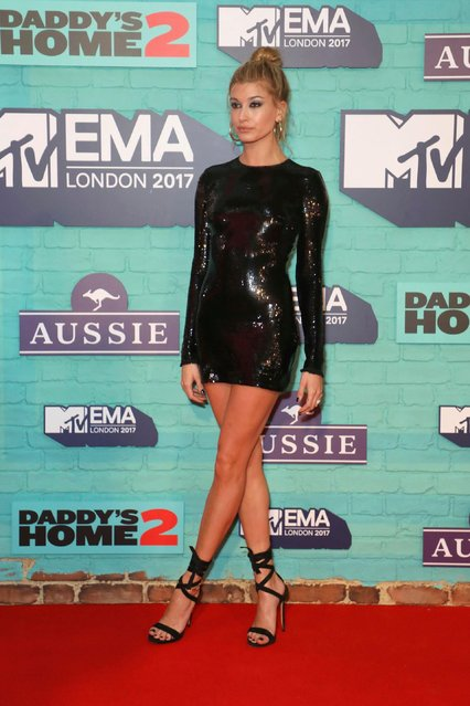 Model Hailey Baldwin poses for photographers upon arrival at the MTV European Music Awards 2017 in London, Sunday, November 12th, 2017. (Photo by Vianney Le Caer/Invision/AP Photo)