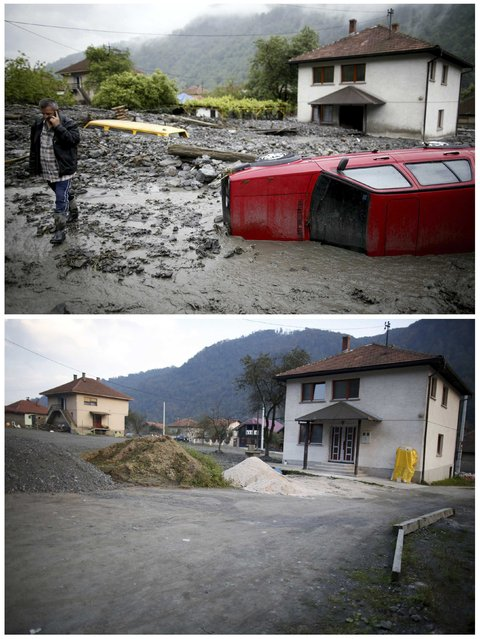 A combination photo shows Asim Skopljak talking on a mobile phone as he walks near a car stranded during floods May 16, 2014 (top) and the same place after floods October 8, 2014 in Topcic Polje. (Photo by Dado Ruvic/Reuters)