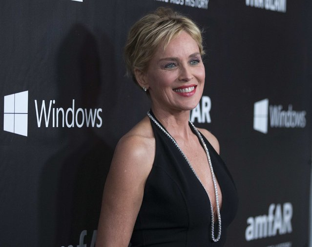 Actress Sharon Stone poses at amfAR's Fifth Annual Inspiration Gala in Los Angeles, California October 29, 2014. (Photo by Mario Anzuoni/Reuters)