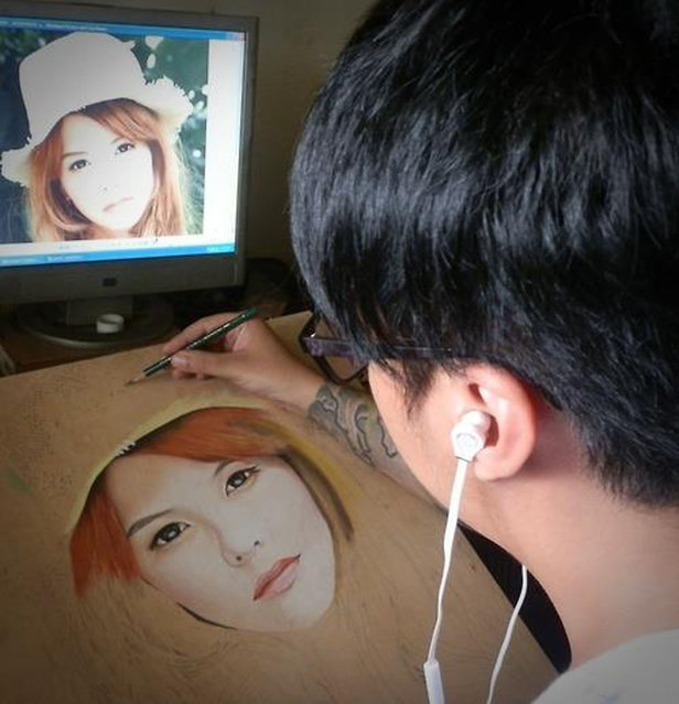 Ivan Hoos drawing of a girl. (Photo by Ivan Hoo/Caters News)