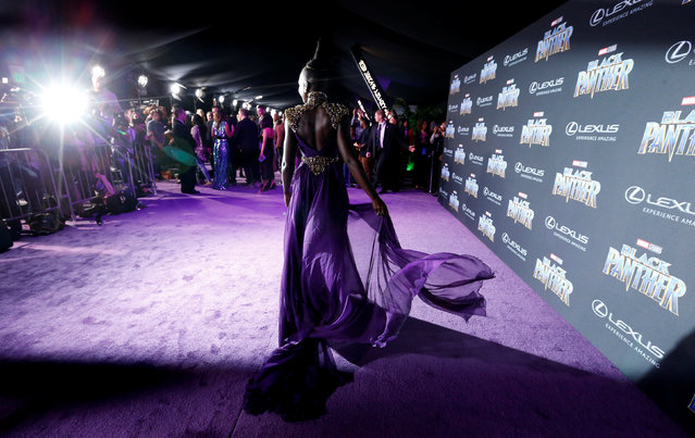 """Lupita Nyong'o, a cast member in """"Black Panther"""", poses at the premiere of the film at The Dolby Theatre on Monday, January 29, 2018, in Los Angeles. (Photo by Mario Anzuoni/Reuters)"""